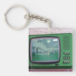 Green TV Double-Sided Square Acrylic Key Ring
