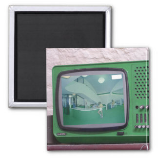 Green TV Square Magnet