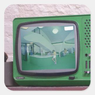 Green TV Square Sticker