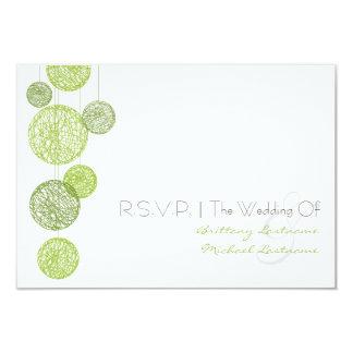 Green Twine Globes Wedding R.S.V.P. 3.5x5 Paper Invitation Card