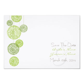 "Green Twine Globes Wedding Save The Date 3.5"" X 5"" Invitation Card"