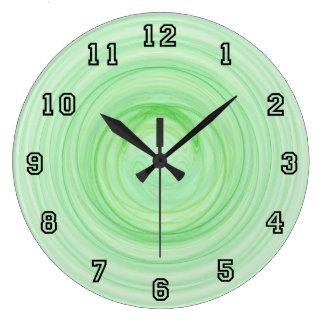 Green Twister Spirals Large Clock
