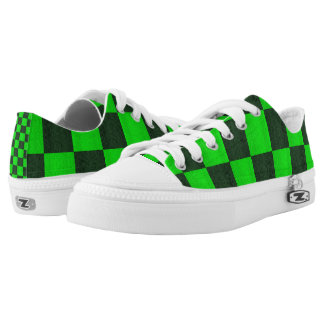 Green Two Toned Mosaic Checks Pattern, Low Tops