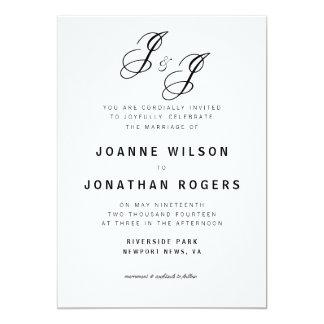 Green Typographic Monogram Cursive Wedding Invite
