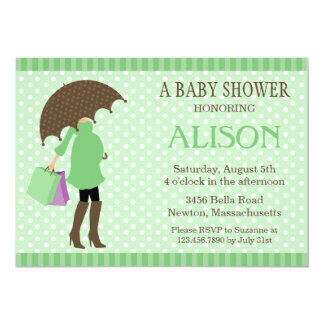 Green Umbrella Baby Shower Invite