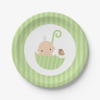 Green Umbrella Neutral Baby Shower Paper Plate
