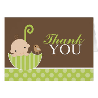 Green Umbrella Thank You Stationery Note Card