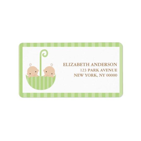 Green Umbrella Twins Baby Shower Label