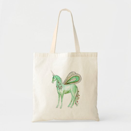 Green unicorn fairy horse tote bag