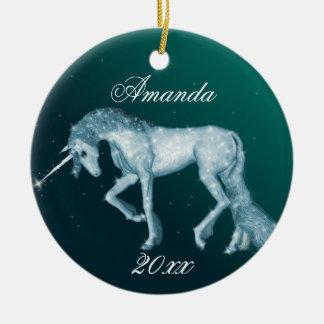 Green Unicorn Fantasy Christmas Ornament