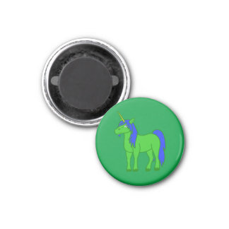 Green Unicorn with Blue Mane 3 Cm Round Magnet
