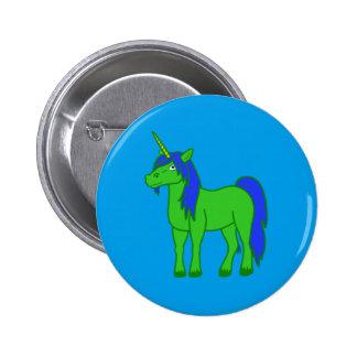 Green Unicorn with Blue Mane 6 Cm Round Badge