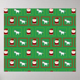 Green unicorns santa claus pattern posters