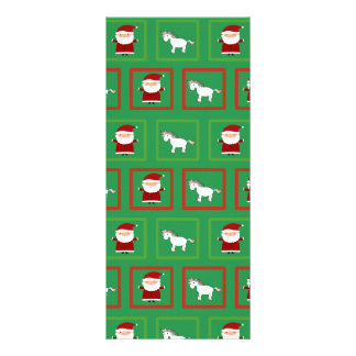 Green unicorns santa claus pattern customized rack card