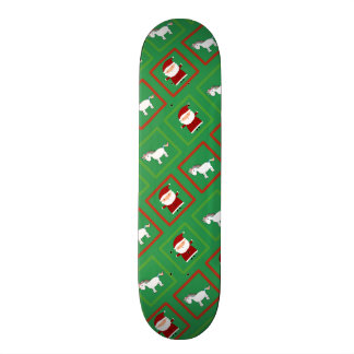 Green unicorns santa claus pattern skateboard deck