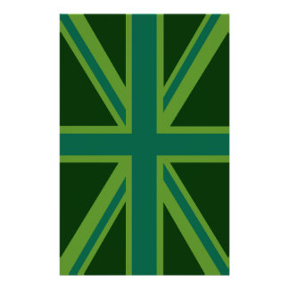 Green Union Jack Flag Decor Personalised Stationery
