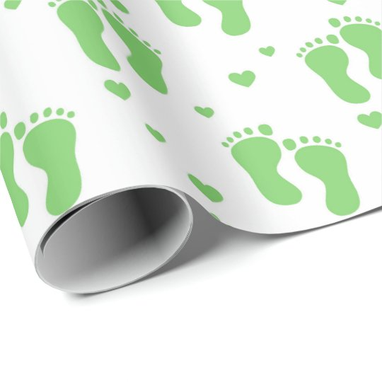 Green unisex feet baby wrapping paper