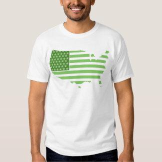Green USA Flag T Shirt