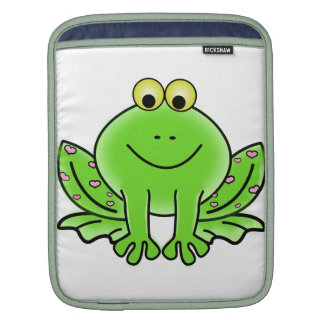 Green Valentine Frog with pink hearts iPad Sleeve