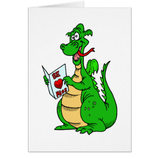 Green Valentine's Day Dragon Card