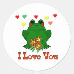 Green Valentine's Day Frog Sticker