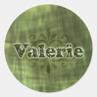 Green Valerie Round Sticker