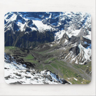 Green valley near the Schilthorn mountain Mouse Pad