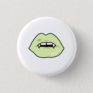 Green Vampire Lips Button