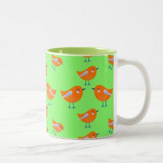 Green Vector pattern of cute  Birds Two-Tone Coffee Mug