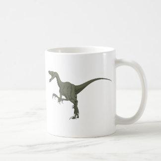 Green Velociraptor Dinosaur Basic White Mug