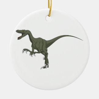 Green Velociraptor Dinosaur Christmas Ornament