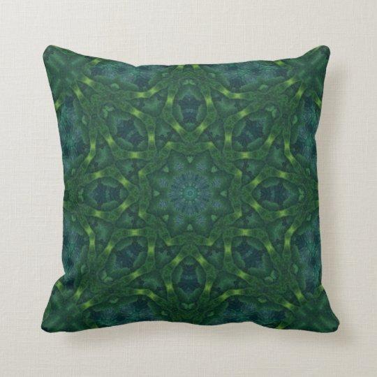 Green Velvet Kaleidoscope Design No 01 Throw Pillow