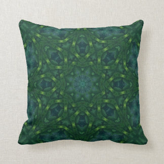 Green Velvet Kaleidoscope Design No 01 Throw Pillow