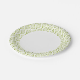 Green vertical ogee pattern background 7 inch paper plate