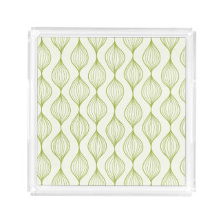 Green vertical ogee pattern background acrylic tray