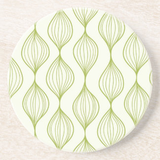 Green vertical ogee pattern background coaster