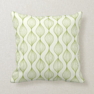 Green vertical ogee pattern background cushion