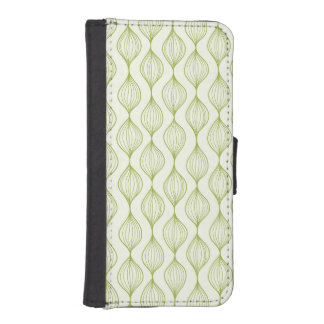 Green vertical ogee pattern background iPhone SE/5/5s wallet case