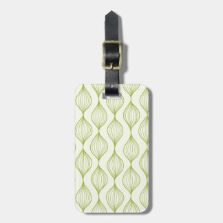 Green vertical ogee pattern background luggage tag