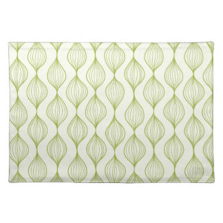 Green vertical ogee pattern background placemat