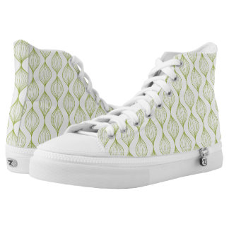 Green vertical ogee pattern background printed shoes