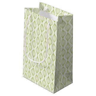 Green vertical ogee pattern background small gift bag