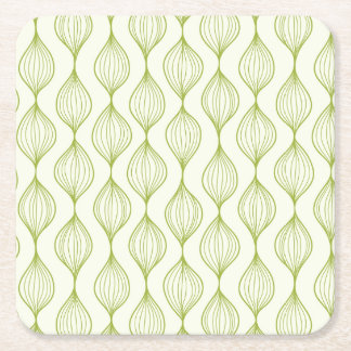 Green vertical ogee pattern background square paper coaster