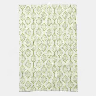Green vertical ogee pattern background tea towel