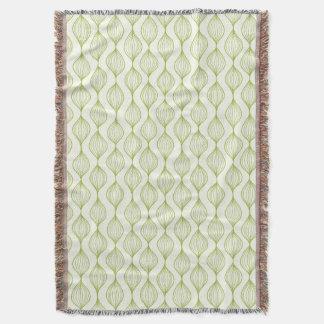 Green vertical ogee pattern background throw blanket