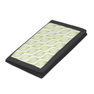 Green vertical ogee pattern background trifold wallets