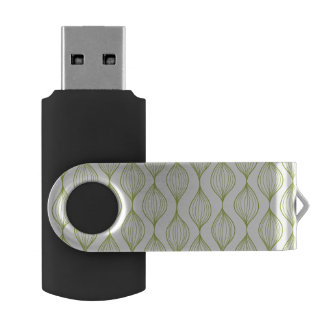 Green vertical ogee pattern background USB flash drive