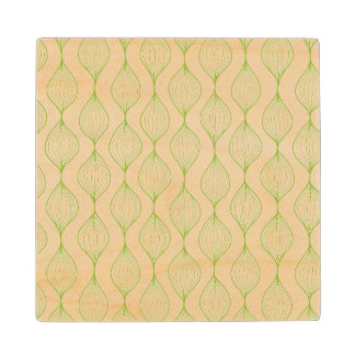 Green vertical ogee pattern background wood coaster