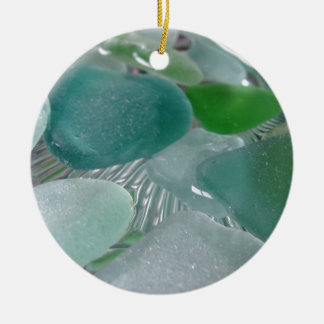 Green Vibrations Green Sea Glass Christmas Ornament