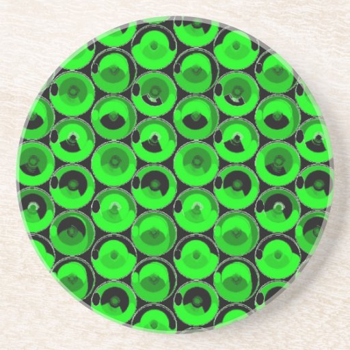 Green Video Game Arcade Buttons Beverage Coasters
